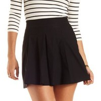 Pleated Skater Skirt by Charlotte Russe - Black