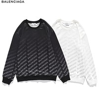 Balenciaga autumn/winter new round neck hoodie, letter arrangement gradient color pullover, loose top for men and women