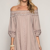 Pretty Little Details Dress - Taupe