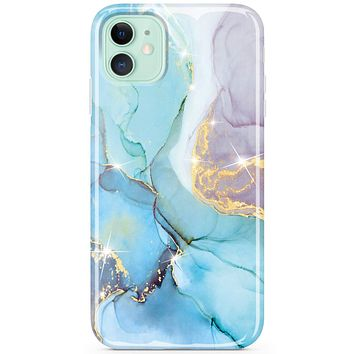 JIAXIUFEN iPhone 11 Case Gold Sparkle Glitter Marble Slim Shockproof Flexible Bumper TPU Soft Case Rubber Silicone Cover Phone Case for iPhone 11 2019 6.1 inch - Mint Purple