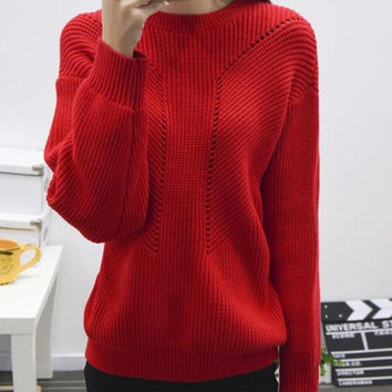 Red Lantern Long Sleeve Cut Out Sweater