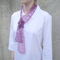 Radiant Orchid Scarf, Ombre, Hand Knit, Short, Scarflette, Rayon/Linen/Silk