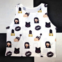 Fashion Casual Expression Pack Print Round Neck Sleeveless Vest T-shirt Crop Top