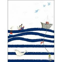 It's a Small World Striped Waves Wall Art by Oopsy Daisy