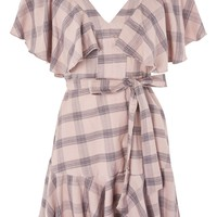 Washed Check Frill Mini Dress - Dresses - Clothing