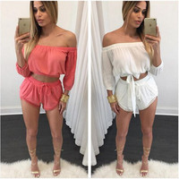 Casual Off Shoulder Strappy Chiffon Crop Top and Short