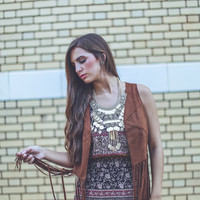 Western Fringe Vest in Brown