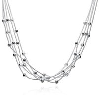 Silver Plated Multi Dangling Orchid Bead Necklace