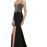 Sunvary Rhinestone Straps Mermaid Long Mother of the Bride Dress Evening Formal Prom Gown Size 18W- Black
