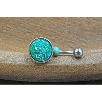 Teal Druzy Belly Button Ring - Short Belly Button Jewellery