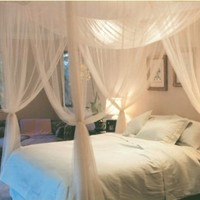 Super buy 4 Corner Post Bed Canopy Mosquito Net Full Queen King Size Netting Bedding White