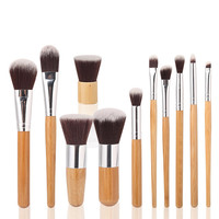 11 Piece Wood Handle Makeup Brush Set