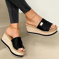 Women Wedge Slippers Platform Flip Flops Soft Comfortable New Casual Shoes Outdoor Beach Sandals Ladies Slippers