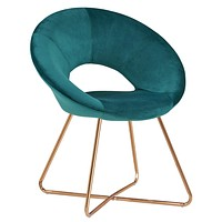 Duhome Modern Accent Velvet Chairs Dining Chairs Single Sofa Comfy Upholstered Arm Chair Living Room Furniture Mid-Century Leisure Lounge Chairs with Golden Metal Frame Legs 1 PCS Atrovirens Atrovirens Velvet