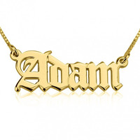 Old English Style 18k Gold Plated Custom Name Necklace