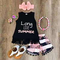 Emmababy Summer Cute Children Toddler Kid Baby Girl Clothes Vest Top T shirt+ Short Pant Headband 3PCS Outfit Clothing Set 2-6Y