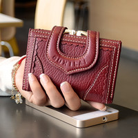 women wallets and purses Genuine Leather Money Coin Bag Cards Holder Zipper Change Pouch Purse Clasps Small Coin Purse Female