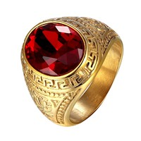 Red Dome Stone Gold Tone Steel Mens Ring