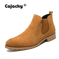Cajacky men boots chelsea boots male vintage fashion westem boots pointed toe ankle boots suede leather winter autumn dress shoe