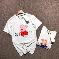 """Gucci x Peppa Pig"" Unisex Casual Fashion Letter Cute Cartoon Pattern Print Couple Short Sleeve T-shirt Top Tee"