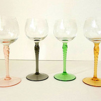 Vintage FOUR twisted long stem blown wine glasses delicate etched glass stemware pink green gold yellow