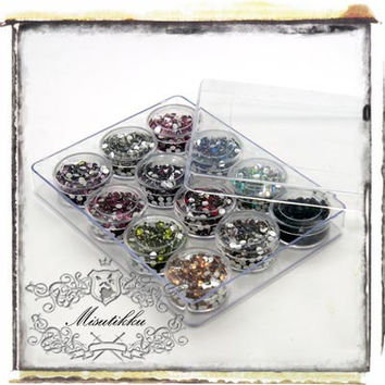 1 Box of 4800 PCS X 4mm Round Bling Resin Rhinestone Gem Cabochon -Miniature / Scrap booking / Nail Art Supply (R4M.BL12)