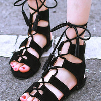 Black Faux Suede Lace Up Gladiator Flat Sandals