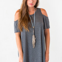 Earl Grey Cold Shoulder Dress