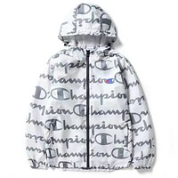 Champion Hooded Zipper Cardigan Sweatshirt Jacket Coat Windbreaker Sportswear White