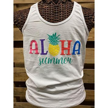 Southern Chics Apparel Aloha Summer Pineapple Canvas Girlie Bright T Shirt Tank Top