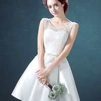 White Lace Overlay Lace Up Back Bowknot Waist Homecoming Dress