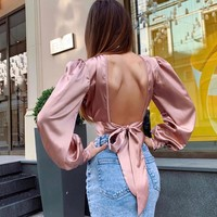 Solid color sexy backless bow tie with navel T-shirt female