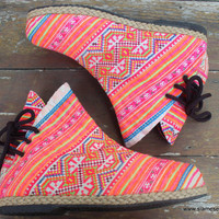 Funky Womens Ankle Boots Ethnic Hmong Embroidered In Pink and Orange