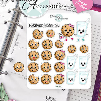 Sticker Sheet Cookie Milk Friends Erin Condren, Happy Planner, Filofax, Kikki K -NR200