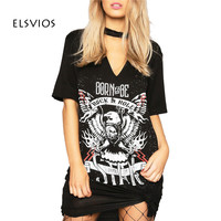 Women Sexy V Neck Dress Print Punk Rock N Roll Eagle Halter T Shirt Dress 2017 Short Sleeve Casual Loose Black Summer Mini Dress