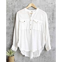Free People - Talk to Me Lightweight Gauzy Button Down in Ivory