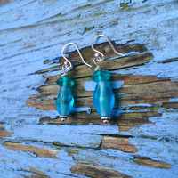 Turquoise Glass & Sterling Silver Dangle Earrings