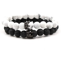 Set of 2pcs Natural Stone Beads Bracelet Bangle King and Queen Crown Couples Charm Bracelet for Women Men Fashion Jewelry Gifts