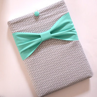 """Macbook Pro 13 Sleeve MAC Macbook 13"""" inch Laptop Computer Case Cover Grey Pattern with Green Bow"""