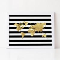 WORLD MAP,Gold Foil,Black And Gold,Gold Foil Map,Modern Wall Art,Gold Map Of The World,Map Art,Map Office Decor,Home Decor,Map Gold Foil
