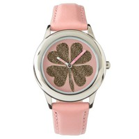 Four Leaf Clover Good Luck Symbol Pink Gold Look Watch