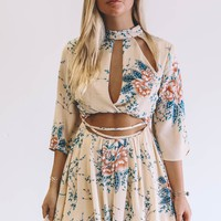 A Rising Sign Taupe Floral Print Romper
