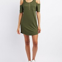 French Terry Cold Shoulder Shift Dress