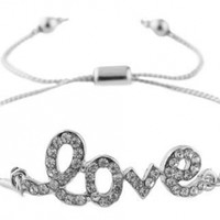 2 Pieces of Silvertone with Clear Iced Out Script Love Adjustable Cord Chain Bracelet