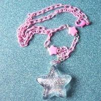 Wishing Star - Holographic Glitter Star Necklace from On Secret Wings