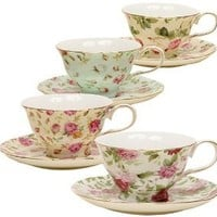 Gracie China Rose Chintz 8-Ounce Porcelain Tea Cup and Saucer, Set of 4