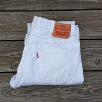 Vintage LEVI'S 501 White Jeans - High Waisted Jeans - Size Levi 31 x 34 or US 6 / 8