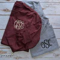 Monogrammed Long Sleeve Tshirt, Personalized Shirt, Monogram Tee, Fall Shirt, Womens Long Sleeve