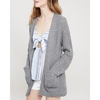 textured sweater knit long sleeve open front cardigan with pockets - grey