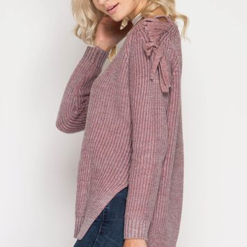 Rose Gold Sweater with Lace up Cold Shoulders